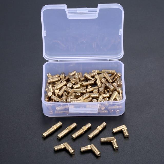 DRELD 100 sztuk mosiądz ukryte zawiasy beczki biżuteria drewniane pudełka szafka ukryty niewidoczny zawias meblowy 4*20mm ze schowkiem