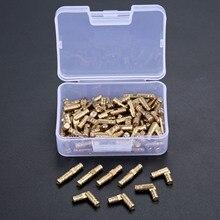 DRELD 100pcs ทองเหลืองปกปิดบานพับเครื่องประดับไม้กล่องตู้ที่มองไม่เห็นบานพับ 4*20 มม. เก็บกล่อง