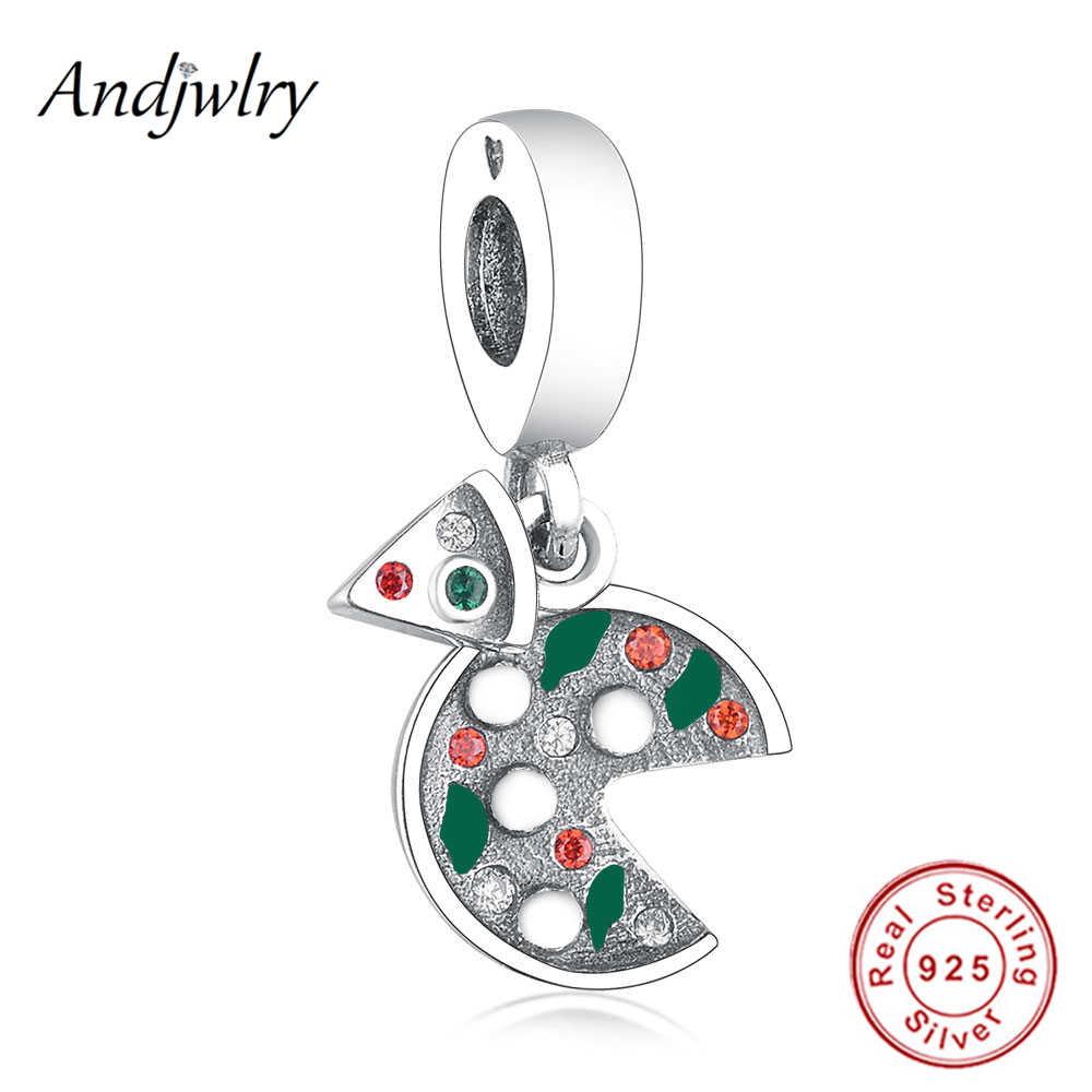 Fit oryginalna bransoletka Charms 925 srebro włochy jedzenie Pizza wisiorek emaliowany zwisające koraliki DIY biżuteria Berloque