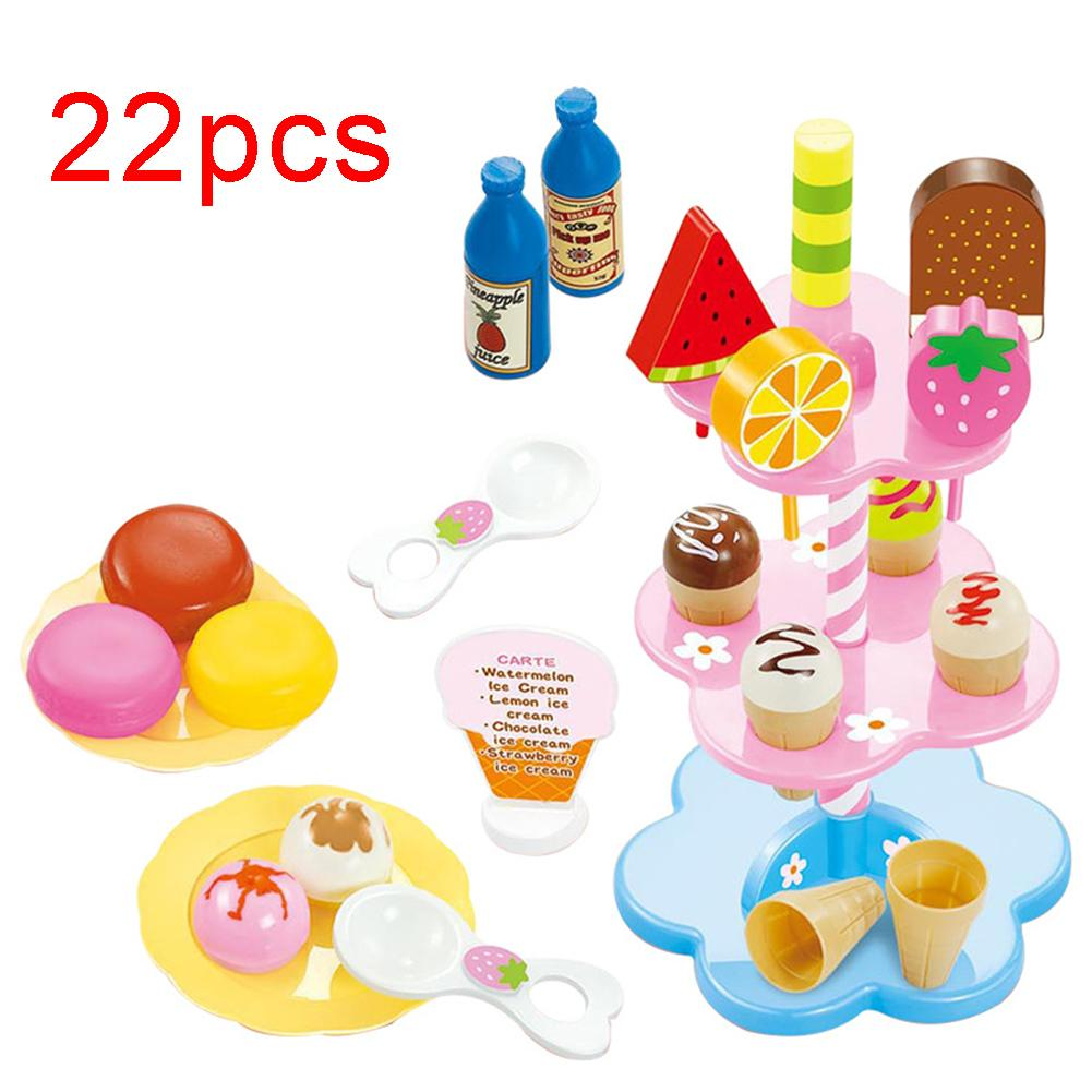 22Pcs/Set Baby Kawaii Simulation Kitchen Toy DIY Ice Cream Dessert Cupcake Stand Pretend Play Early Learning Toys For Children