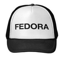 Fedora Letters Print Baseball Cap Trucker Hat For Women Men Unisex Mesh Adjustable Size Black White Drop Ship M-65(China)