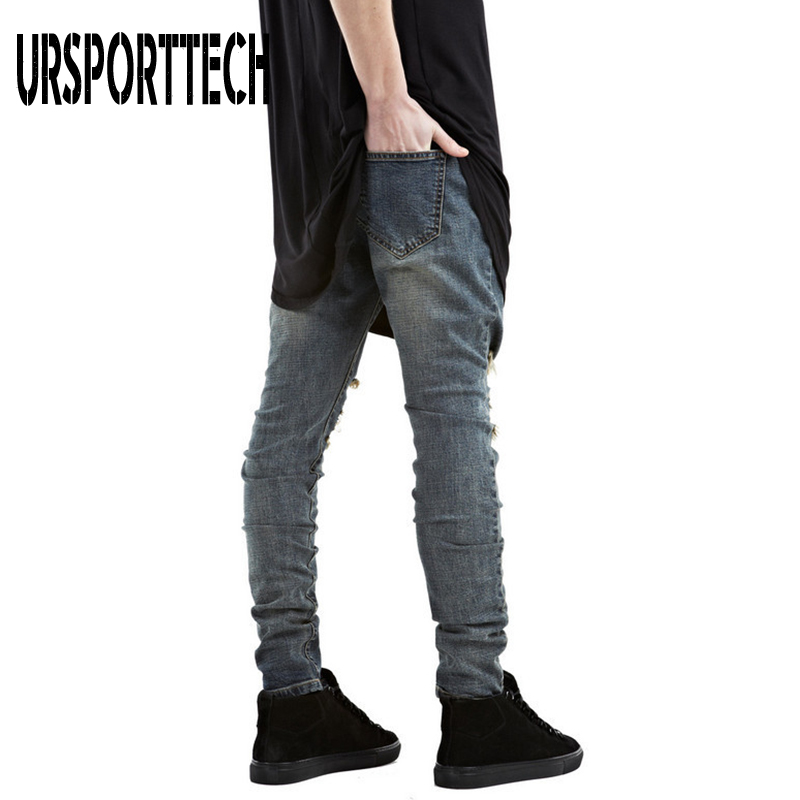 New Arrival Men Jeans Pants Men Brand Slim Fit Hollow Jeans Trousers Streetwear Retro Hole Pencil Pants Ripped Jeans for Men in Jeans from Men 39 s Clothing