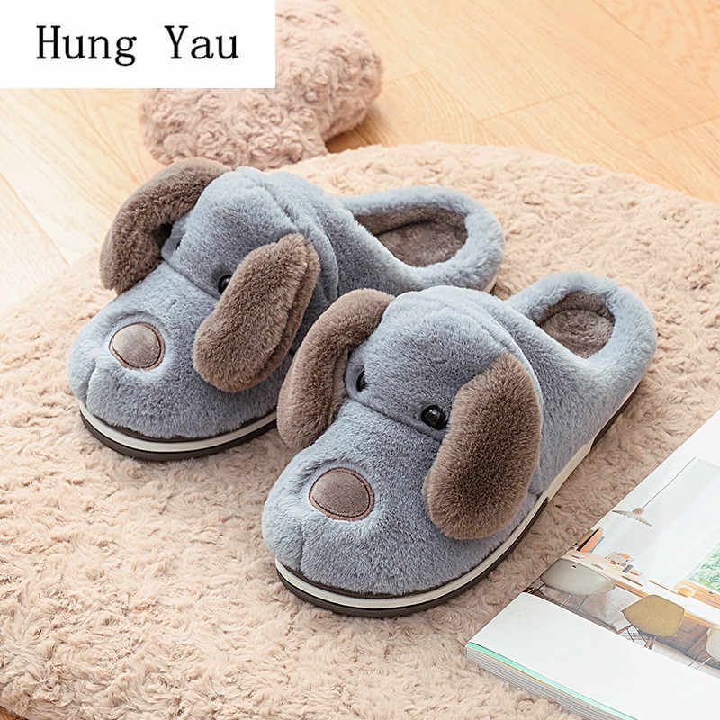 Men Slippers Flips Flops Winter Warm Cute Dog Shoes Man Fashion Platform Sandals Slides Non-slip Flats Indoor Comfortable