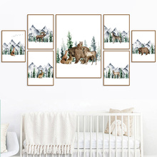 Deer Bear Wolf Mountain Forest Landscape Wall Art Canvas Painting Nordic Posters And Prints Wall Pictures For Living Room Decor blue sky snow mountain forest landscape wall art canvas painting nordic posters and prints wall pictures for living room decor