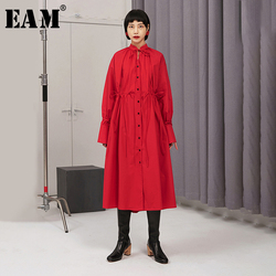 [EAM] Women Red Drawstring Big Size Shirt Dress New Stand Collar Long Sleeve Loose Fit Fashion Tide Spring Autumn 2020 1N374