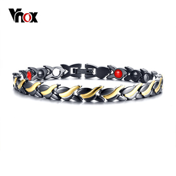 Vnox Health Care Twisted Magnetic Bracelets Bangles for Men Stainless Steel Germanium Link Chain Bracelet Pulseira Masculina