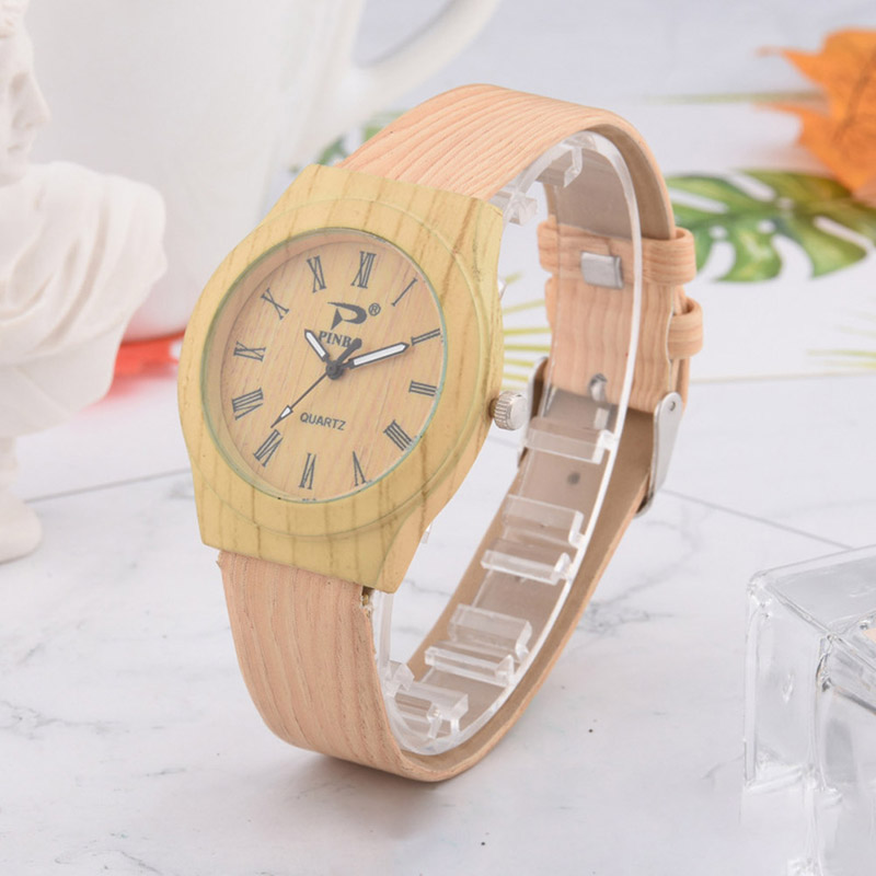 Men Women Quartz Watch PU Leather Wood Pattern Wristwatch Student Sport Casual Watches FEA889