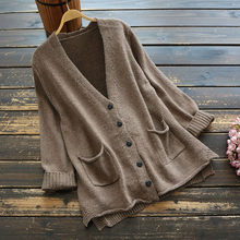 Women Sweater V Neck Knit New 2020 Spring Autumn Loose Cardigan Long-sleeved Solid Color Pockets Mori Girl Fashion Women Coat(China)