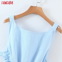 Tangada Women Solid Color Backless Beach Midi Dress Strap Sleeveless 2021 Fashion Lady Dresses Vestido 1M32 3
