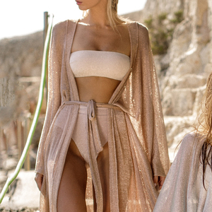 Image 5 - See though Gossamer Beach cover up Sexy bikini 2020 sash belt Long beach dress Gold tunic kimono o neck swimwear women biquini