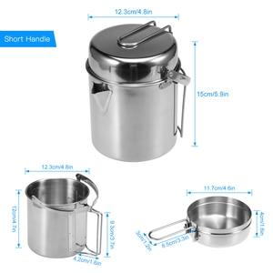 Image 5 - Pot de sac à dos de Camping extérieur portatif de bouilloire de cuisson dacier inoxydable de 1L avec la poignée pliable