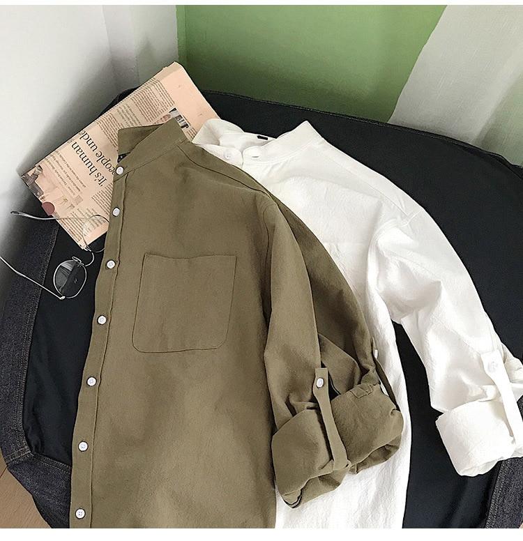 H2ac7c1315cd140348ad4811179ec6f3dh Simple Design Solid Colors Long Sleeve Shirts Korean Fashion Mandarin Collar 100% Cotton White Black Shirt Soft and Comfort