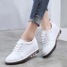 Hide Heel Genuine Leather Shoes Women Fashion Sneakers New Lace Up Height Increasing Casual Shoes White Sneakers XU161
