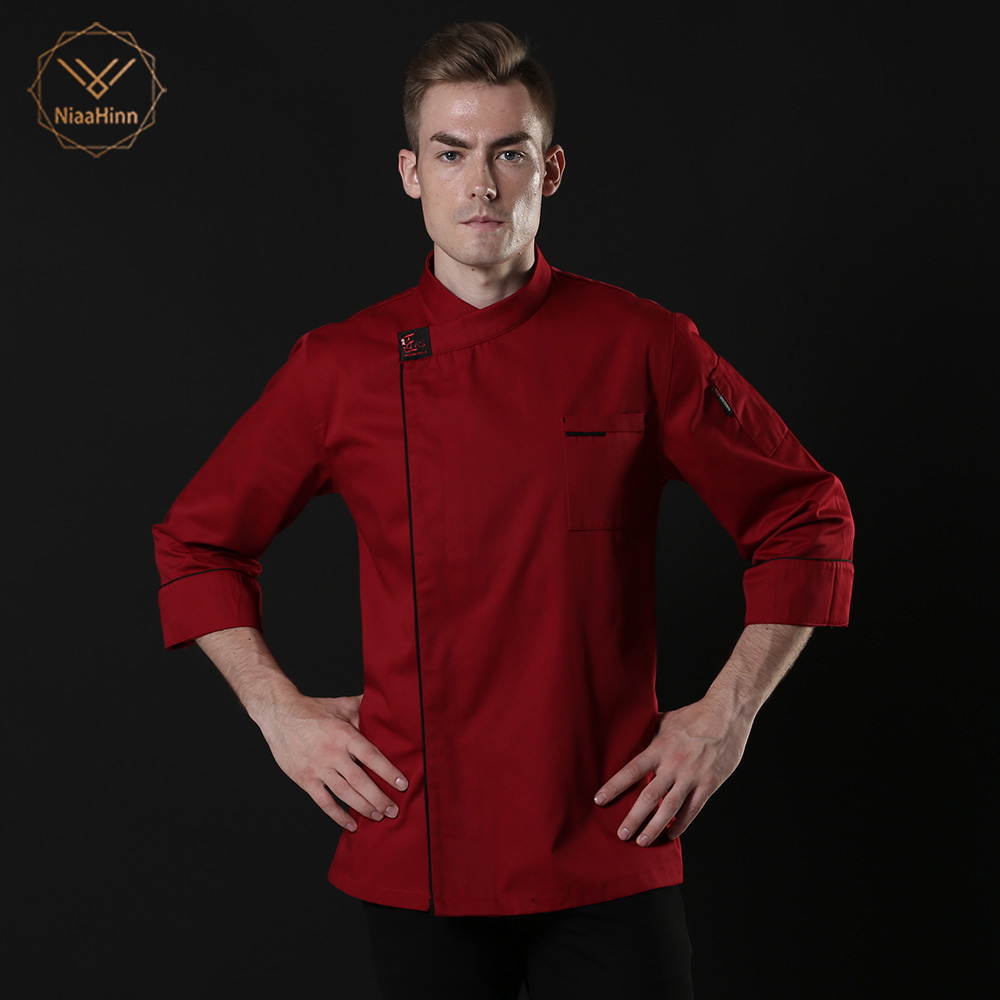 New Unisex Red Chef Uniform Restaurant Bakery Kitchen Work Wear Clothing Long Sleeve Breathable Cook Jacket Patchwork Overalls
