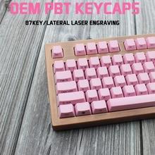 IDOBAO Pink Mechanical Keyboard 87 Key OEM Pbt Keycap Retro Laser Engraving Side Printing Gaming Tastatur Cherry Mx Gh60 Dota 2 цена