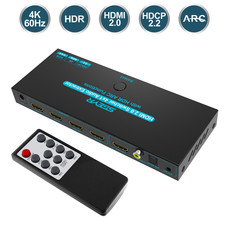HDMI <font><b>Switch</b></font> Switcher 4x1HDMI Audio Extractor 3D ARC Audio With Optical SPDIF & L/R Audio Out HDMI <font><b>Switch</b></font> <font><b>Remote</b></font> For PS4 Apple TV image