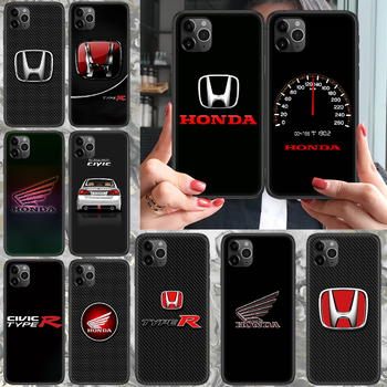 Honda car H logo Phone case For iphone 4 4s 5 5S SE 5C 6 6S 7 8 plus X XS XR 11 PRO MAX 2020 black prime painting waterproof image