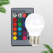3W E27 LED Energy Saving Bulb Lamp RGB 16 Colors Indoor Night Light With 24 Key Remote Control AC 85-265V