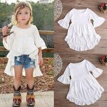 White Baby Girls Dress Frills Flare Sleeve Top T-Shirt Party Ruffles Hem Dresses 1-6Y mauve cold shoulder frills design top