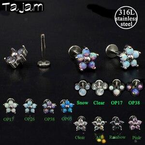 1 шт., стальные Кристальные кольца для пирсинга губ, циркониевые опаловые цветы, хрящи для ушей, шпильки для пирсинга, бесплатная доставка