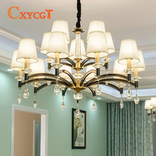 American-style Simple All-bronze Chandelier Living Room Light and Cozy Bedroom Lamps