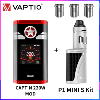 【Free P1 MINI S Kit】Original Vaptio Capt'N Box MOD 220W TC E Cig No 18650 Battery Vapig fit 510 P3 Atomzier 5pcs Gladiator Core original ehpro 2 in 1 fusion 150w tc kit max 150w w fusion mod