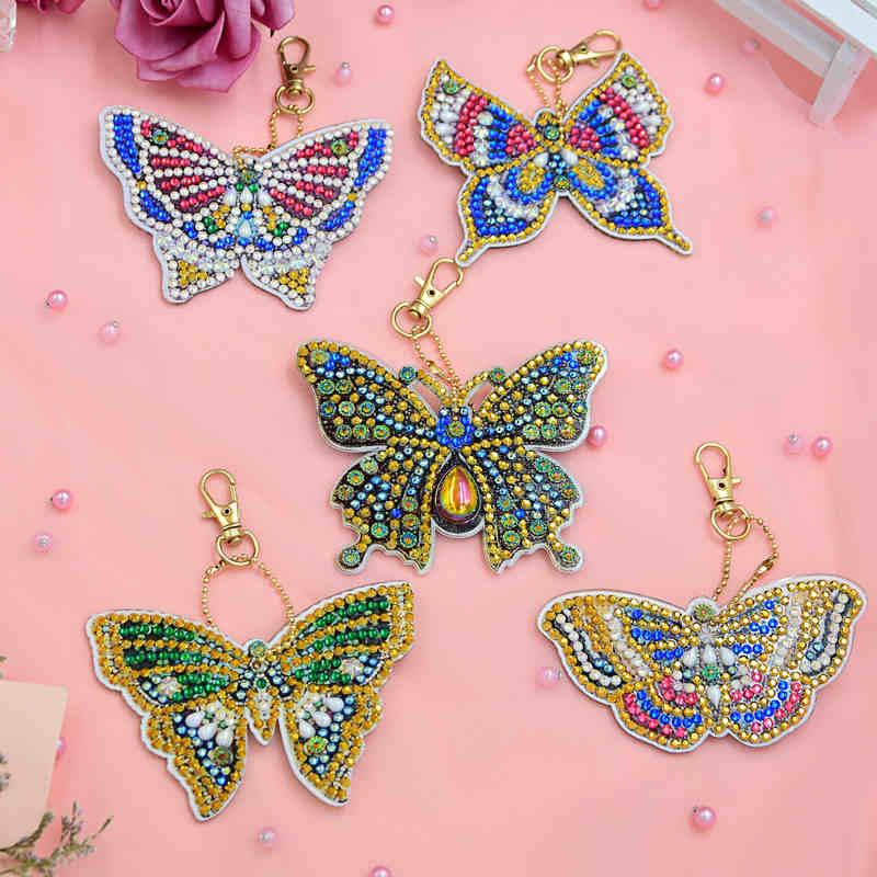 3-8 piezas DIY taladro completo especial diamante pintura llavero dibujos animados corazón Animal llaveros mujeres bolso colgante llavero regalos