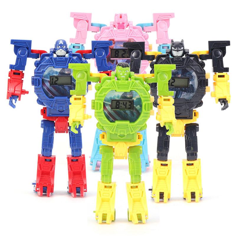 Children Watch  Deformation  Electronic Watches   Transformation Robot  Cartoon  Girl Boy Toy Gift Kids Watches