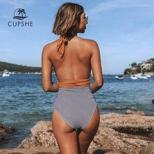 Image 3 - CUPSHE tutmak Accompained şerit tek parça mayo V boyun Backless Halter seksi Bikini 2020 bayanlar plaj mayo mayo