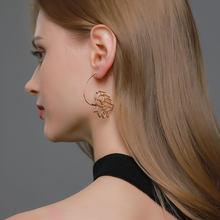 LETAPI nouveau Punk Vintage fleur boucles d'oreilles goutte pour les femmes mode or argent couleur creux Lotus bijoux cadeaux