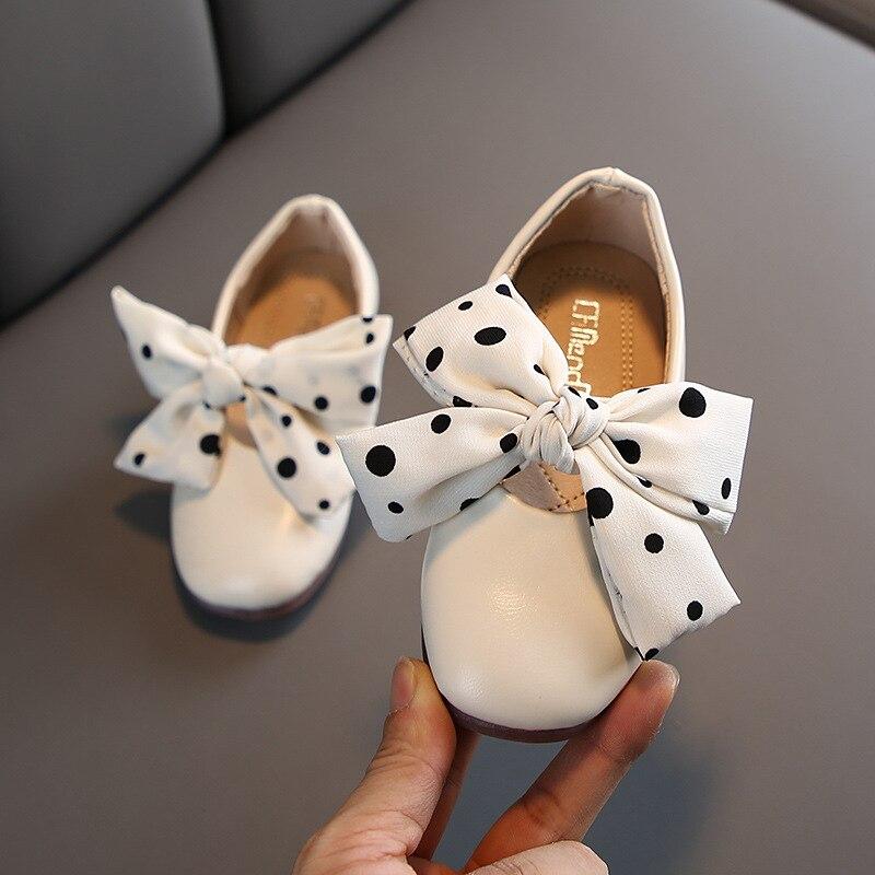 2020 Autumn Princess Girls Dot Lace Bow Flat Shoes AS0276