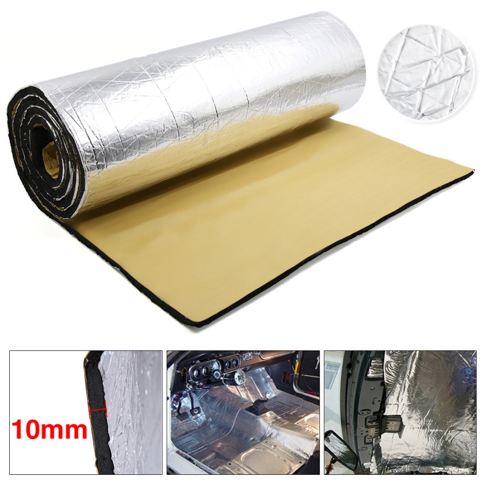 10mm Thick Aluminum Fiber Muffler Cotton Car Auto Indoor Heat Sound Deadening Insulation Soundproof Dampening Mat