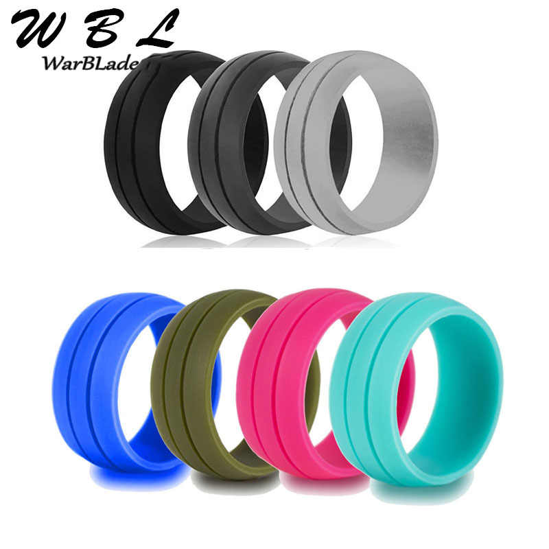 WarBLade 100% Natural Silicone Ring Hypoallergenic Crossfit Flexible Rubber Finger Rings 8MM For Women Men Party Wedding Rings