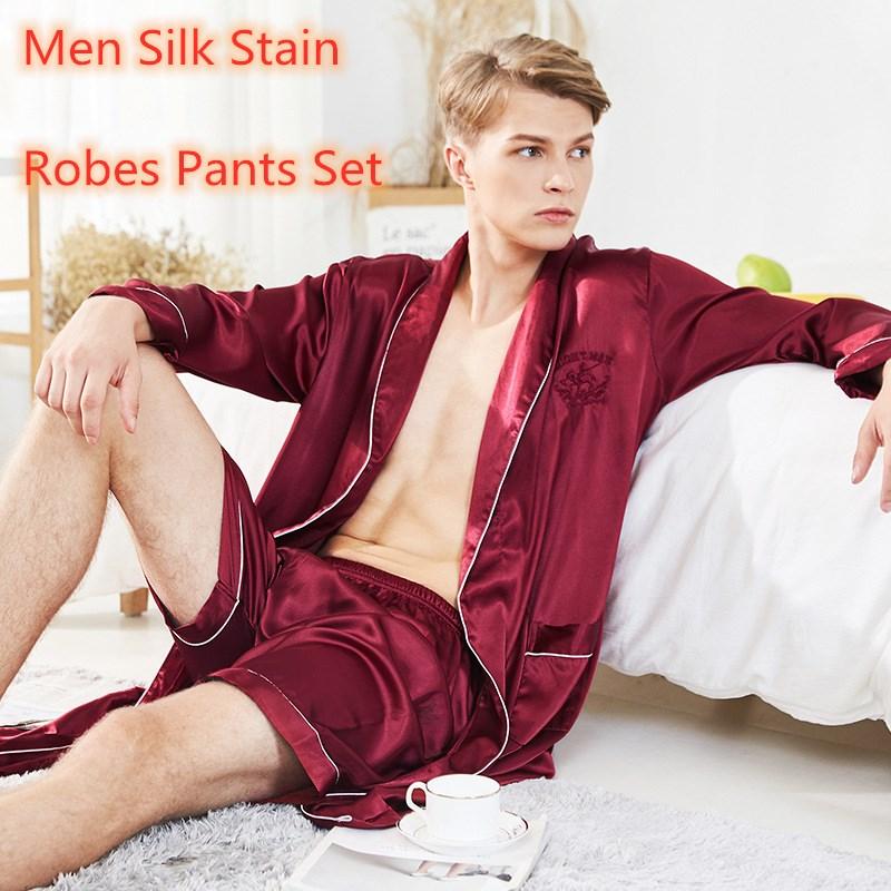 Men's Stain Silk Pajamas Robe Sets Bornoz Setleri Badjas Mannen Summer Man Pjamas Nightwear Vetement Homme Luxe Men's Bathrobe