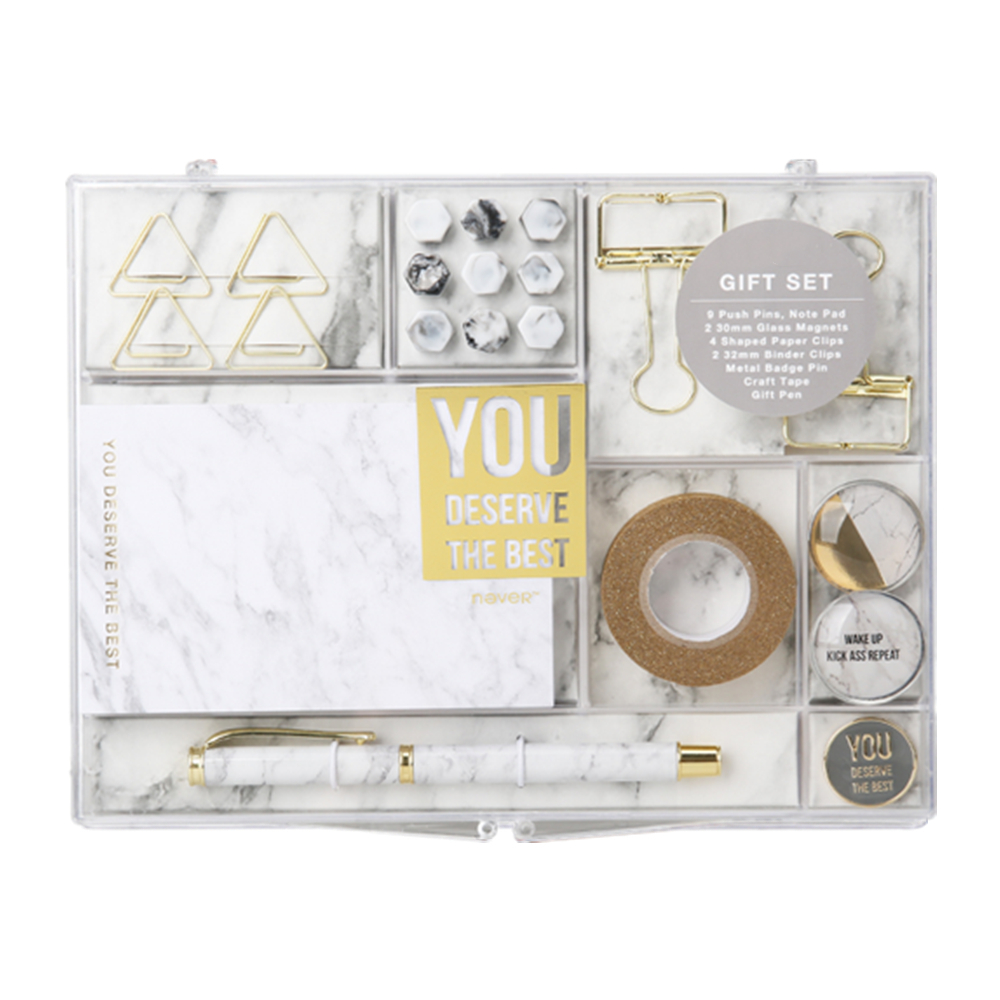 Marble Stationery Gift Set Creative Office Supplies Collector Pens, Washi Tapes, Binder Clips, Memo Note Cube Office Value Pack