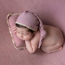 Ylsteed 3 pçs/set recém nascidos foto adereços bebê cauda chapéu estiramento fotografia envoltório com posando travesseiro infantil estúdio tiro roupas