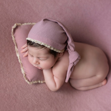Ylsteed 3Pcs/Set Newborn Photo Props Baby Tail Hat Stretch Photography Wrap with Posing Pillow Infant Studio Shooting Outfits