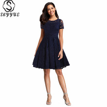 Skyyue O-Neck Evening Dress 2019 Lace Short Sleeve Robe De Soiree Plus Size Women Party Dresses Solid Elegant Formal Gowns C464 skyyue evening dress soild short sleeve robe de soiree tassel zipper women party dresses 2019 plus size o neck formal gowns c084
