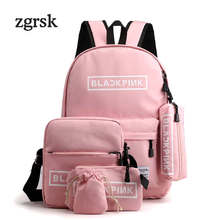 Preppy Style Women Backpack 5pcs Set School Bag Letter Waterproof Large Capacity Travel Teenager