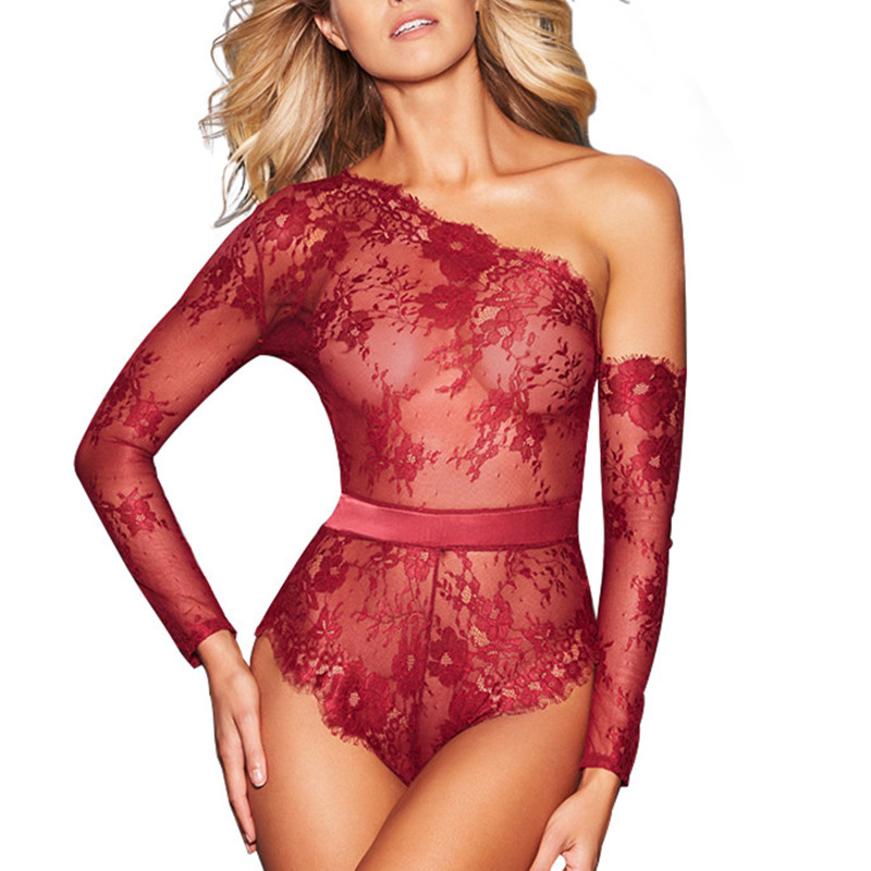 Black Lace Bodysuit Long Sleeve XL Off Shoulder Teddies Sexy Lingerie Hot Women Underwear Red Transparent Body Mujer RS80842