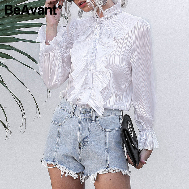BeAvant Party Club Long Sleeve Tops Blouses Women 2020 Work Wear Office Ruffles Ladies Blouse Shirts Front Lace Up Blusa Elegant