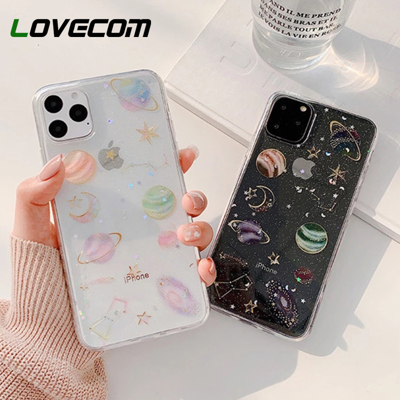 For iPhone 12 Pro Case Planet Glitter Star Clear Phone Case For iPhone 12 11 Pro Max XR X XS Max 7 8 Plus Soft Epoxy Phone Cover case for iphone phone casescase for iphone 6 - AliExpress