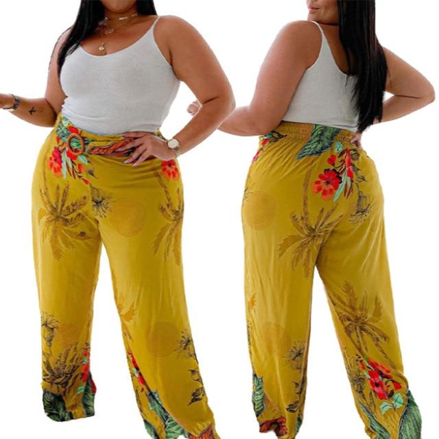 Flared Pants Mid-waist Elastic Long Yellow Plus Size Loose 1