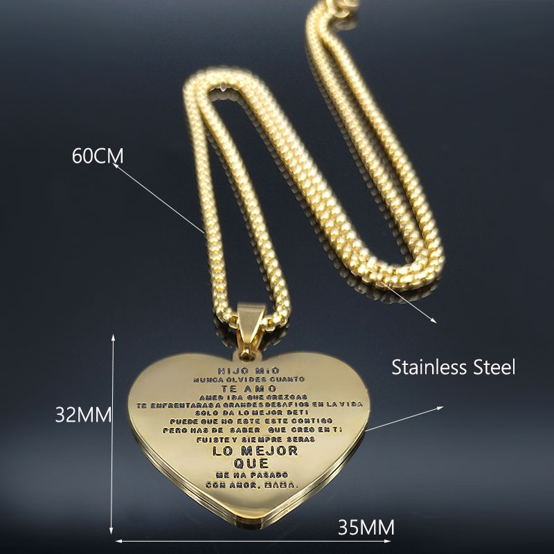 2019 Fashion Gold Color HIJO MIO NUNCA OLBIDES CUANTO TE AMO Stainless Steel Necklace Chain Women MAMA Jewelry joyas N19301 in Pendant Necklaces from Jewelry Accessories