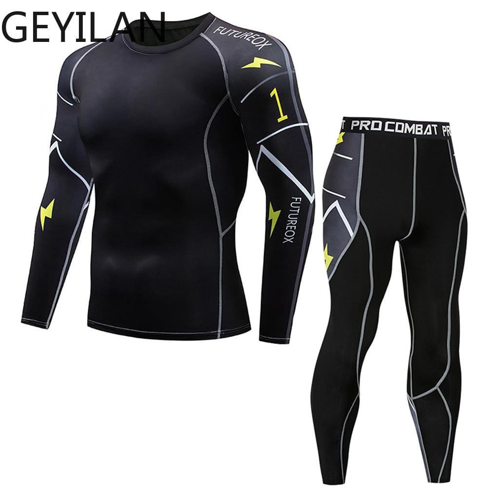 Spring Thermal Mens Underwear T-shirts Leggings Men Clothing Thermal Underwear Male Compression Tracksuit Men Brands Jan10