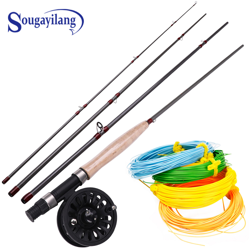 Sougayilang 2.7M 4 Section Fly Fishing Rod and Fly Reel 4F 100FT  Fly Fishing LineCombo for Freshwater Travel Bass Pike Fishing|Rod Combo| |  - title=