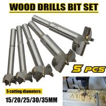 High Quality 5Pcs/Set 15-35mm Woodworking Core Drill Bit 0.63-1.38 Inch Cemented Carbide Alloy Woodworking Hole Saw Wood Cutter цена 2017