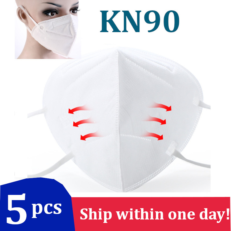 5Pcs KN90 Virus Mask Face Mouth Masks Bacteria Proof Anti-sneeze Dust KN 90 N90 Mask Protection Safety Work Particulate Filter