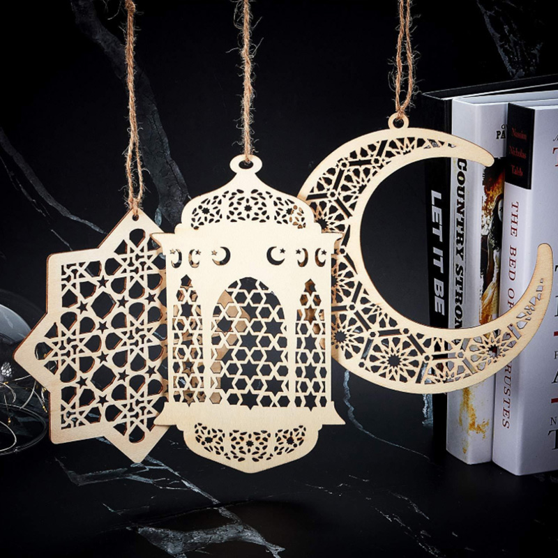 Hot Sale Wooden Eid Mubarak Desktop Ornaments Pendant Decoration Wooden Ornaments Muslim Islamic Desktop Decoration