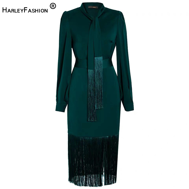 HarleyFashion Quality Women Stunning Two Pieces Skirt Sets Solid Blouse Slim Straight Skirt Fashion High Street Tassel Twin Sets